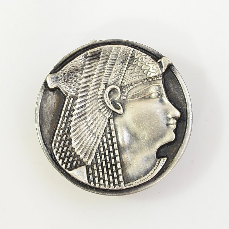 s62670 Metal Pendant -  Egyptian Pharoah Button - Antiqued Silver