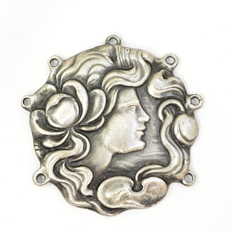 s62671 Metal Pendant -  Lady with Peony - Antiqued Silver