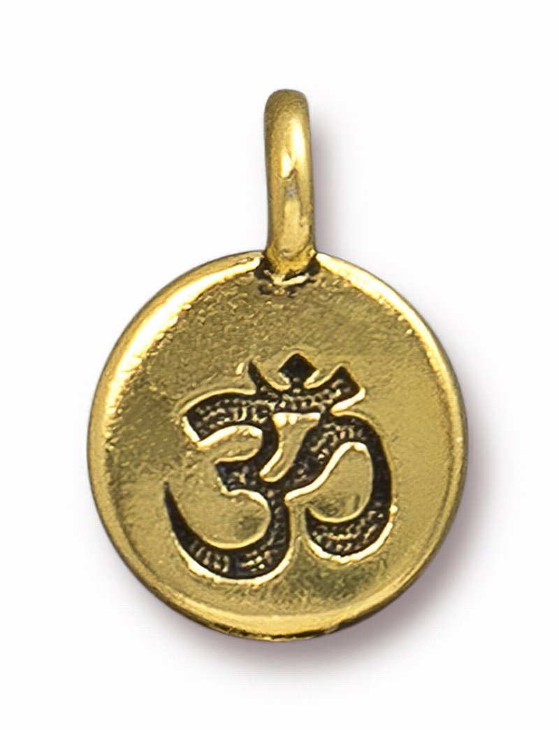 s62691 Metal Charm/Drop -  Om Round Charm - Antique Gold