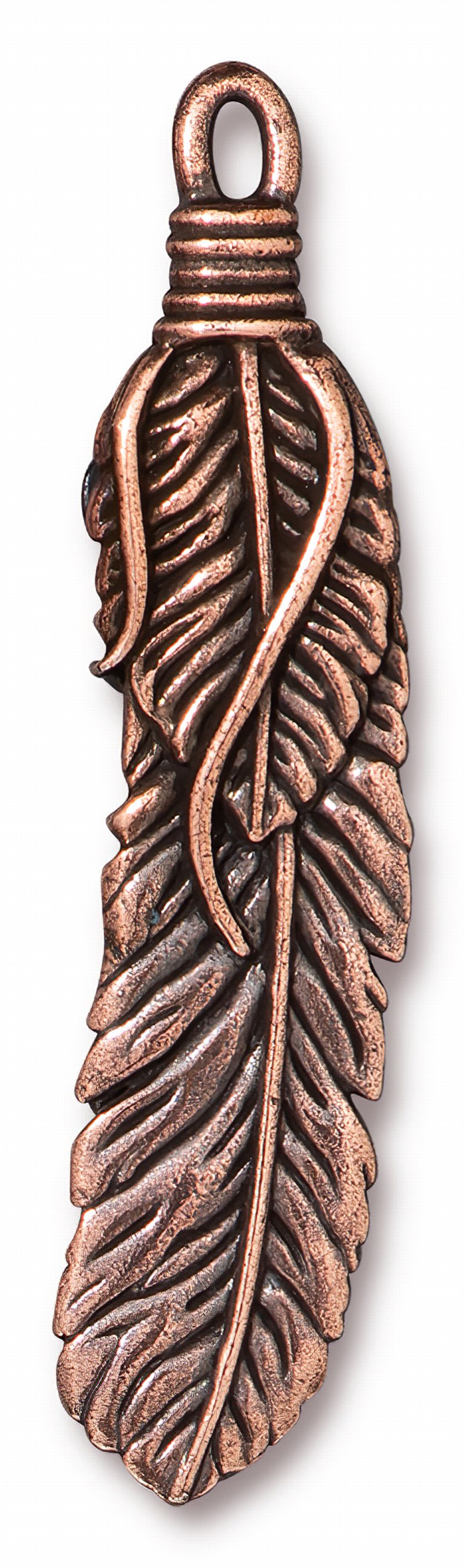s62694 Metal Pendant - 2in Wrapped Feather - Antiqued Copper