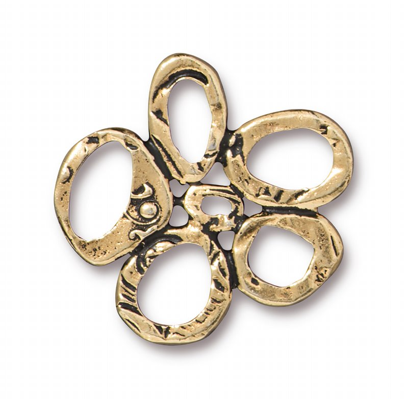 s62699 Finding - Link -  Intermix 5 Ring Link - Antique Gold
