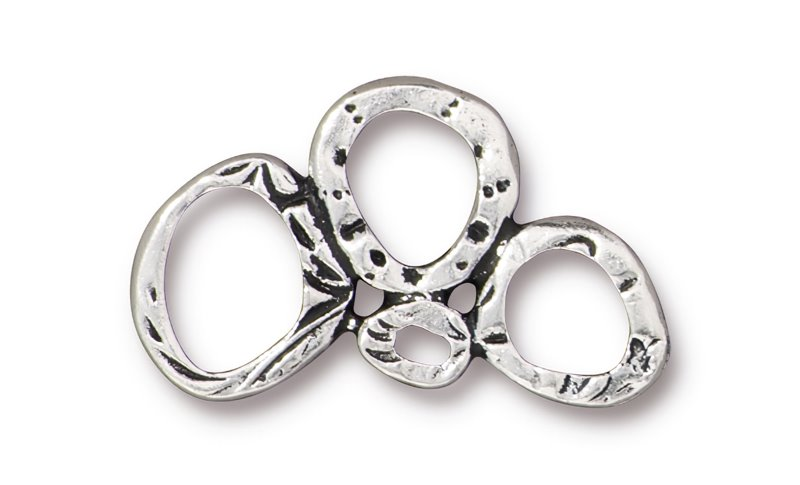 s62705 Finding - Link -  Intermix 3 Ring Link - Antiqued Silver