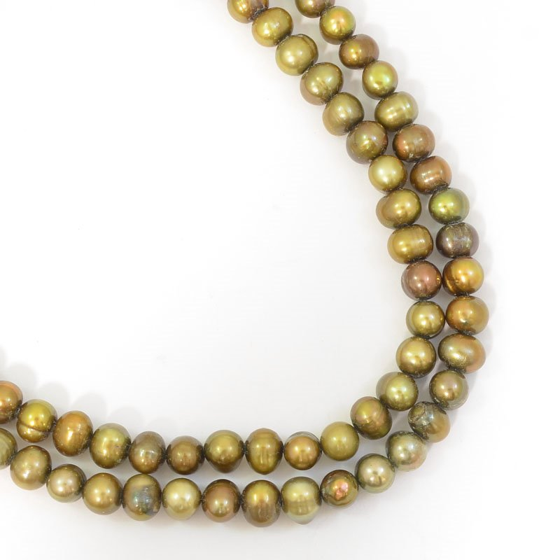 s62746 Freshwater Pearls - 5mm Potato Pearl - Metallic Green Bronze (strand)