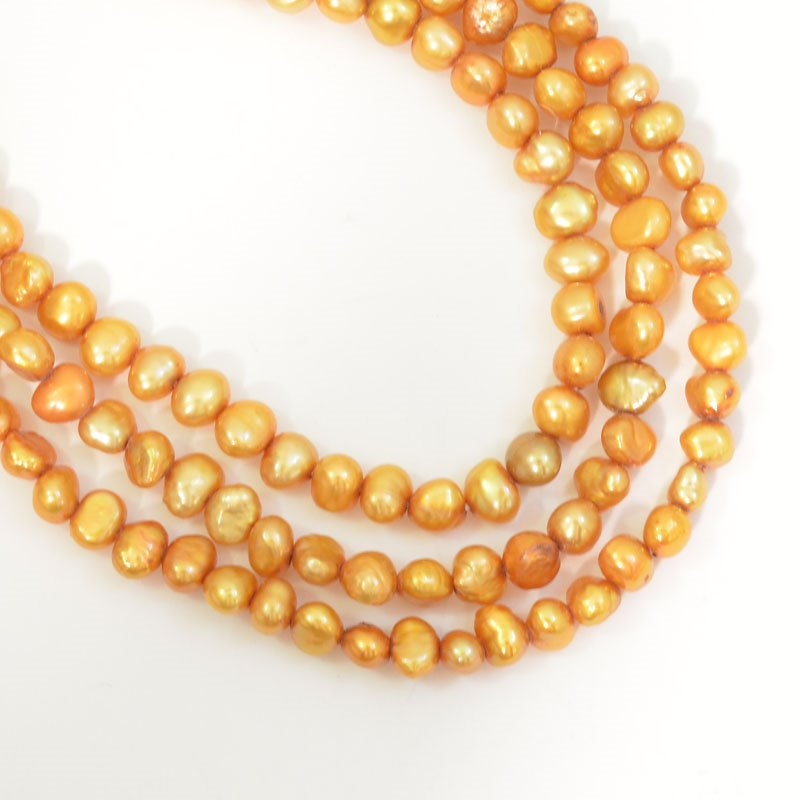 s62750 Freshwater Pearls - 5mm Potato Pearl - Gold Pearl (strand)