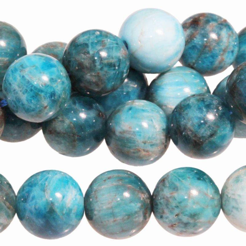 s62761 Stone Beads - 10mm Round - Blue Apatite (strand)