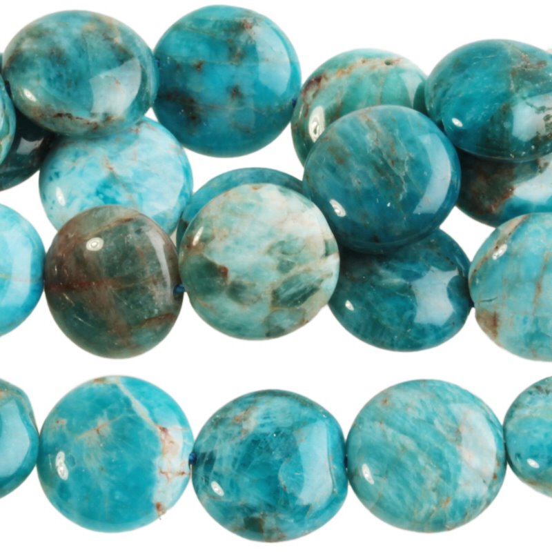 s62762 Stone Beads - 12mm Coin - Blue Apatite (strand)