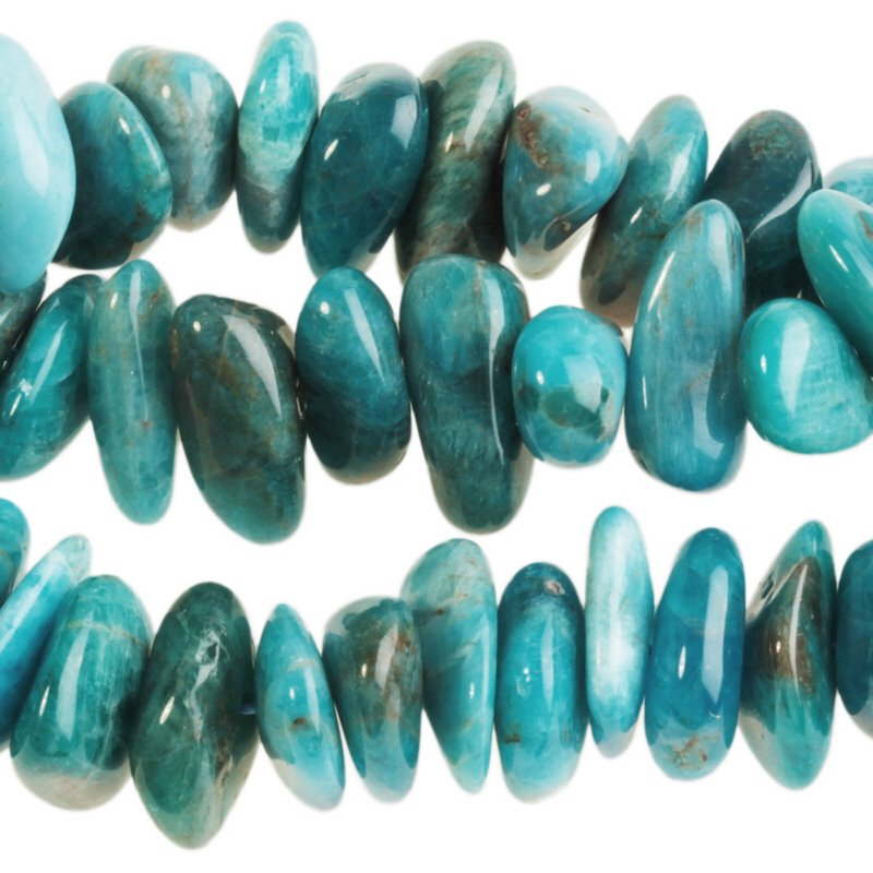s62765 Stone Beads - 5x15mm Flat Chip - Blue Apatite (strand)