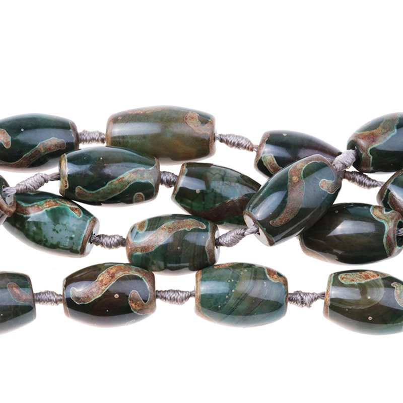 s62793 Stone Beads - 15x25mm Barrel - Dzi Agate Green Eye