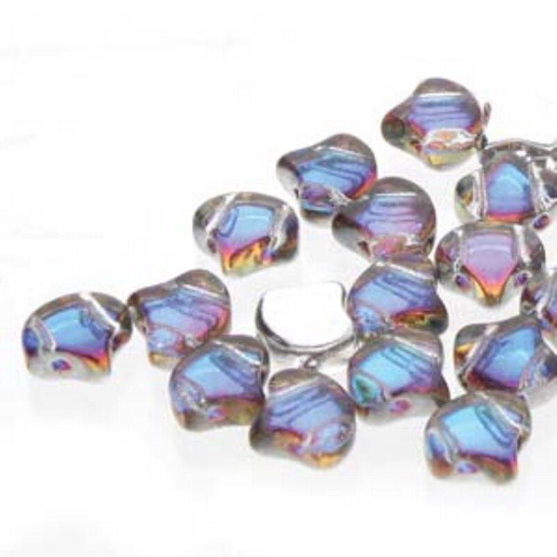 s62879 Czech Shaped Beads - 2-Hole Ginko - Backlit Petroleum