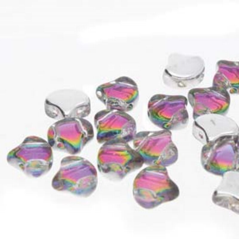 s62881 Czech Shaped Beads - 2-Hole Ginko - Backlit Spectrum