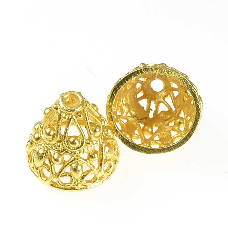 s62887 Findings - Cone - 13mm Filigree Cone - Bright Gold Plated