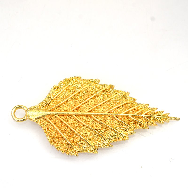 s62893 Pendant - 53mm Lacey Leaf - Bright Gold Plated