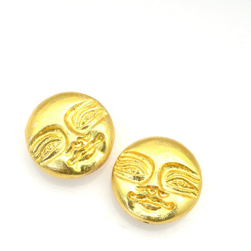 s62897 Beads - 24mm Serene Moon - Bright Gold Plated