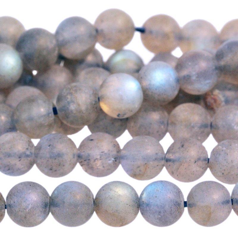 s62909 Stone Beads - 6mm Round - Matte Labradorite AA Grade (strand)