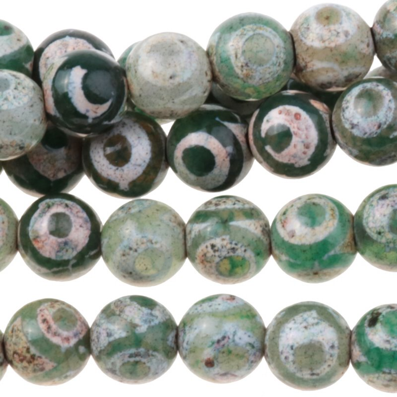 s62910 Stone Beads - 8mm Round - Dzi Agate Green White Eye (strand)