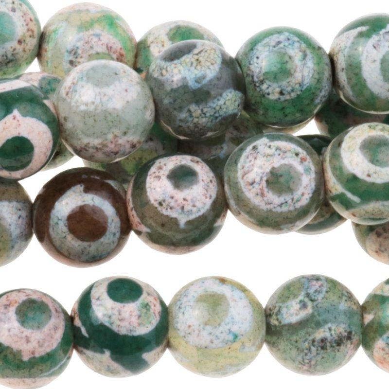 s62911 Stone Beads - 10mm Round - Dzi Agate Green White Eye (strand)