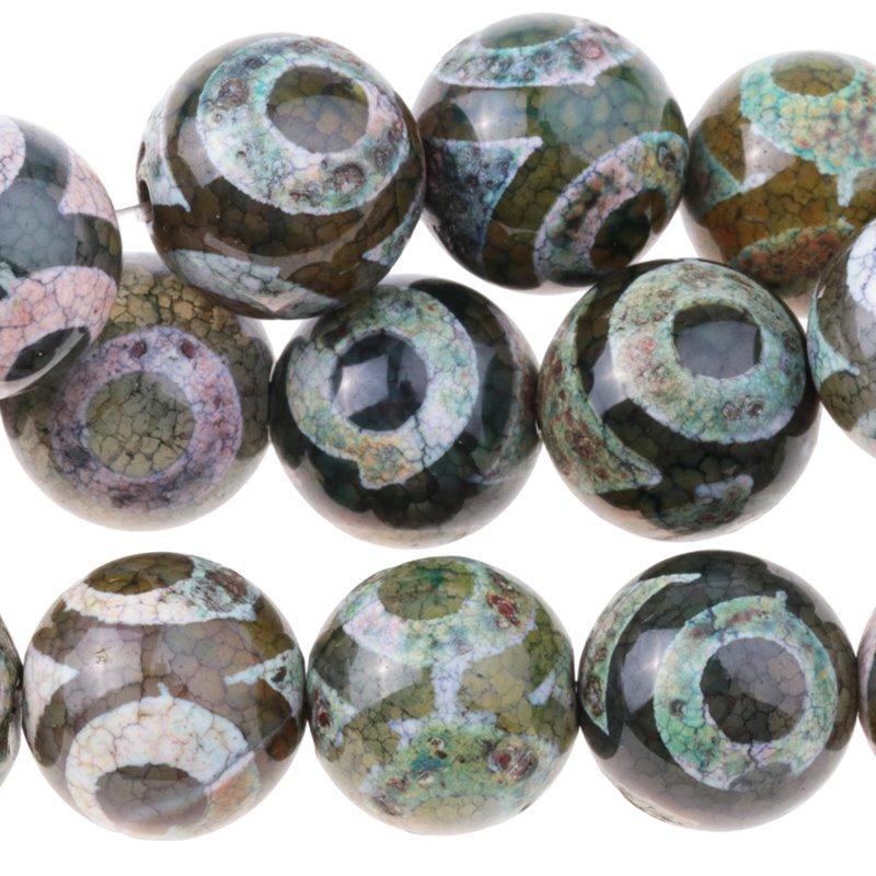 s62912 Stone Beads - 12mm Round - Dzi Agate Green White Eye (strand)