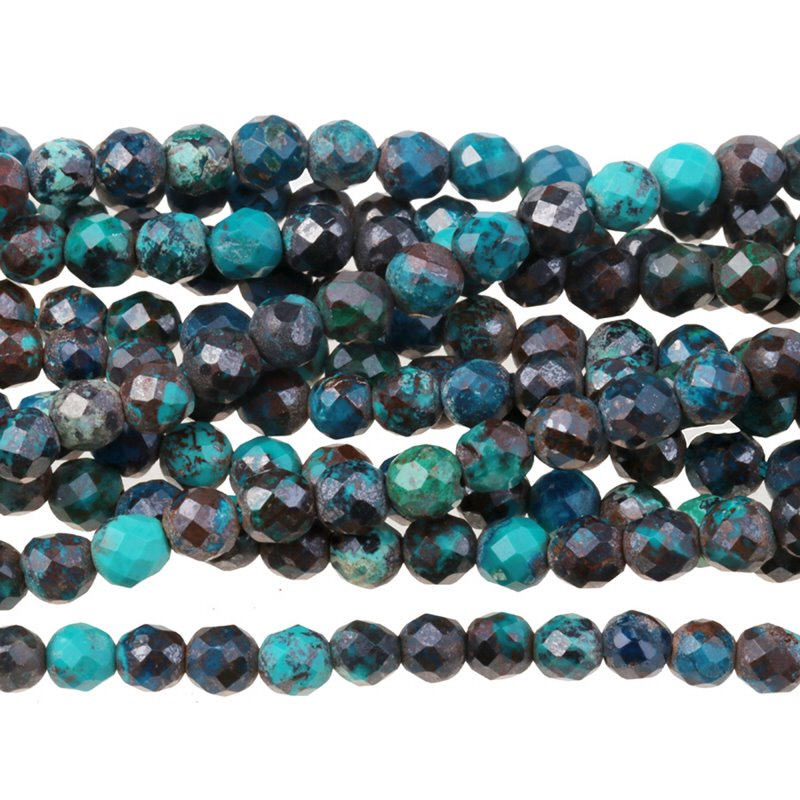 s62917 Stone Beads - 3mm Diamond Cut Faceted Round - Dark Chrysocolla (strand)