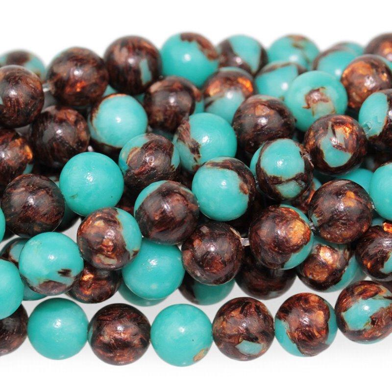 s62919 Stone Beads - 6mm Round - Teal Serpentine and Bronzite (strand)