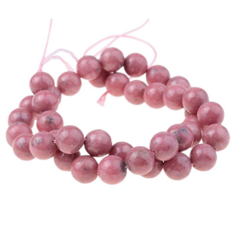 s62921 Stone Beads - 10mm Round - Rhodonite (strand)