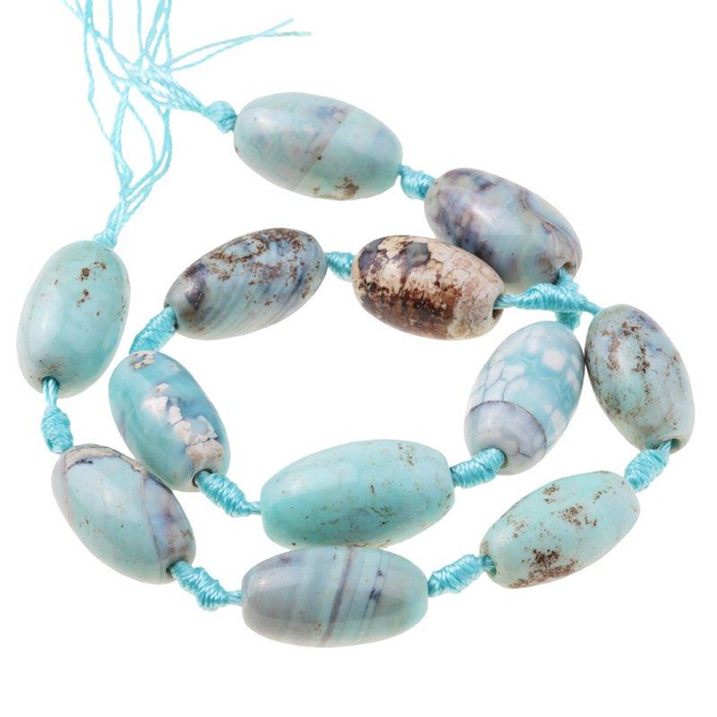 s62923 Stone Beads - 20mm Barrel - Terra Agate (strand)