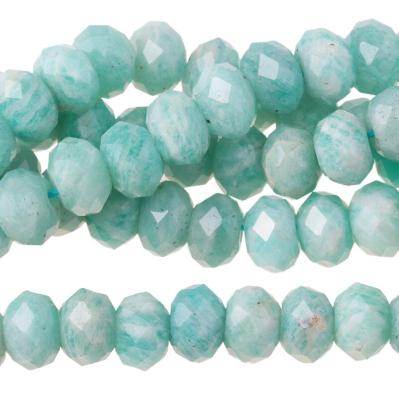 s62926 Stone Beads - 8mm Big Hole Diamond Cut Faceted Rondelle Donut - Amazonite (strand)