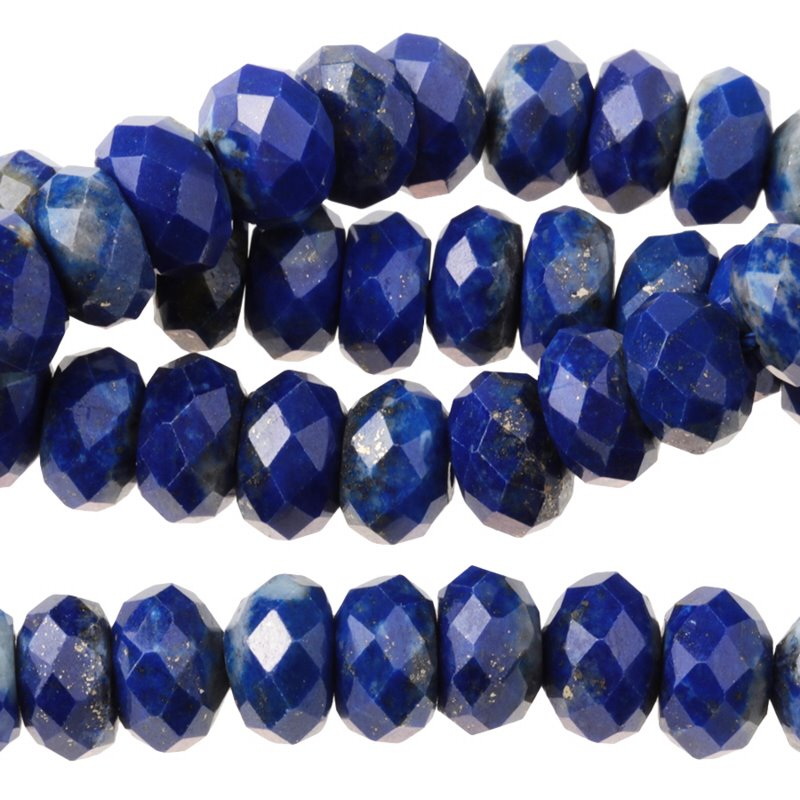 s62927 Stone Beads - 8mm Big Hole Diamond Cut Faceted Rondelle Donut - Lapis Lazuli (strand)