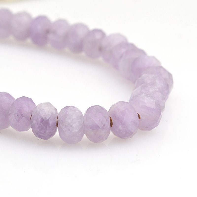 s62928 Stone Beads - 8mm Big Hole Diamond Cut Faceted Rondelle Donut - Lavender Amethyst (strand)