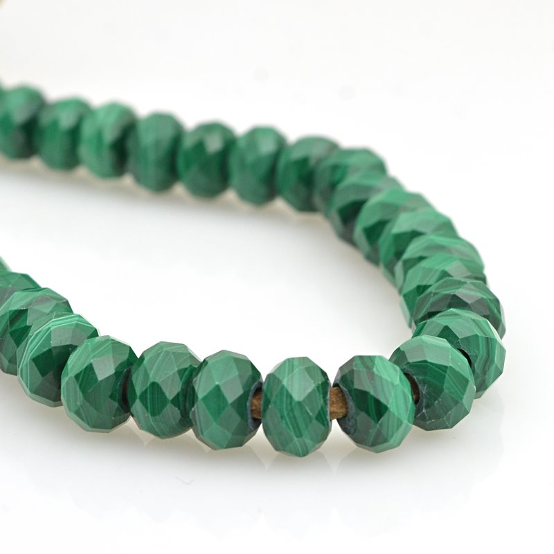 s62929 Stone Beads - 8mm Big Hole Diamond Cut Faceted Rondelle Donut - Malachite (strand)