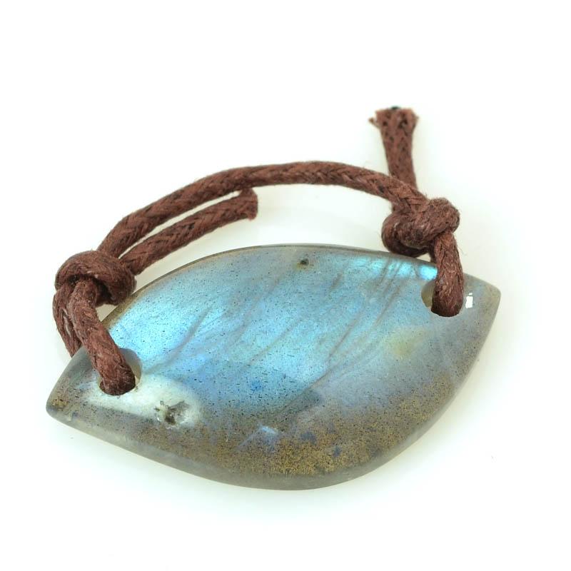 s62968 OOAK Stone Pendant - 35x18mm Freeform - Labradorite