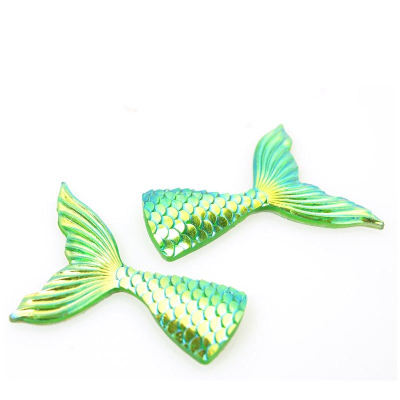 s62984 Resin - Fashion Cabochon - 36mm Mermaid Tail - Lime AB