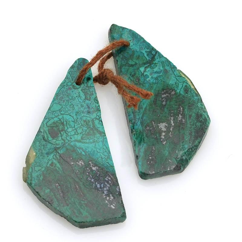 s63008 OOAK Stone Pendant - 33mm Freeform Slabs - Chrysocolla (Pair)