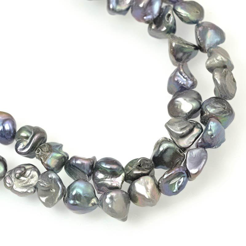s63043 Freshwater Pearls - 8mm Keishi Pearl - Peacock (strand)