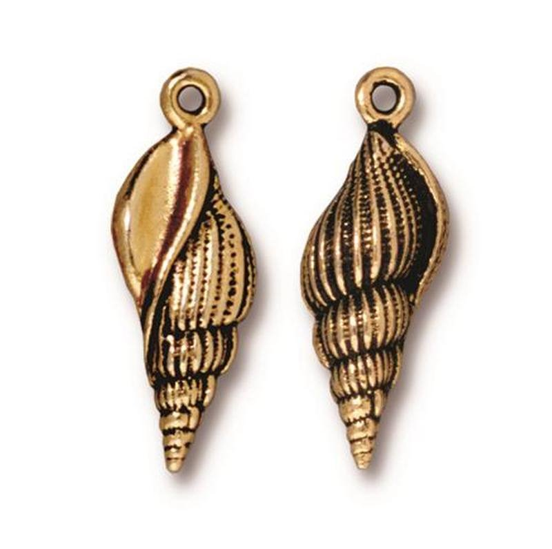 s63182 Charm - Large Spindle Shell - Antique Gold