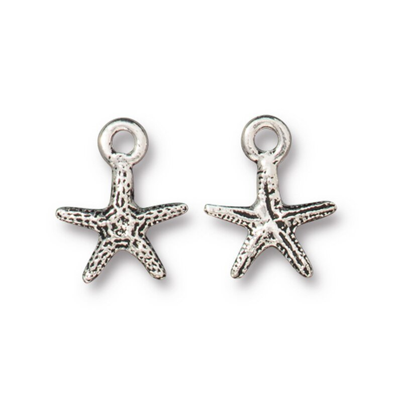 s63188 Charm - Tiny Sea Starfish - Antiqued Silver