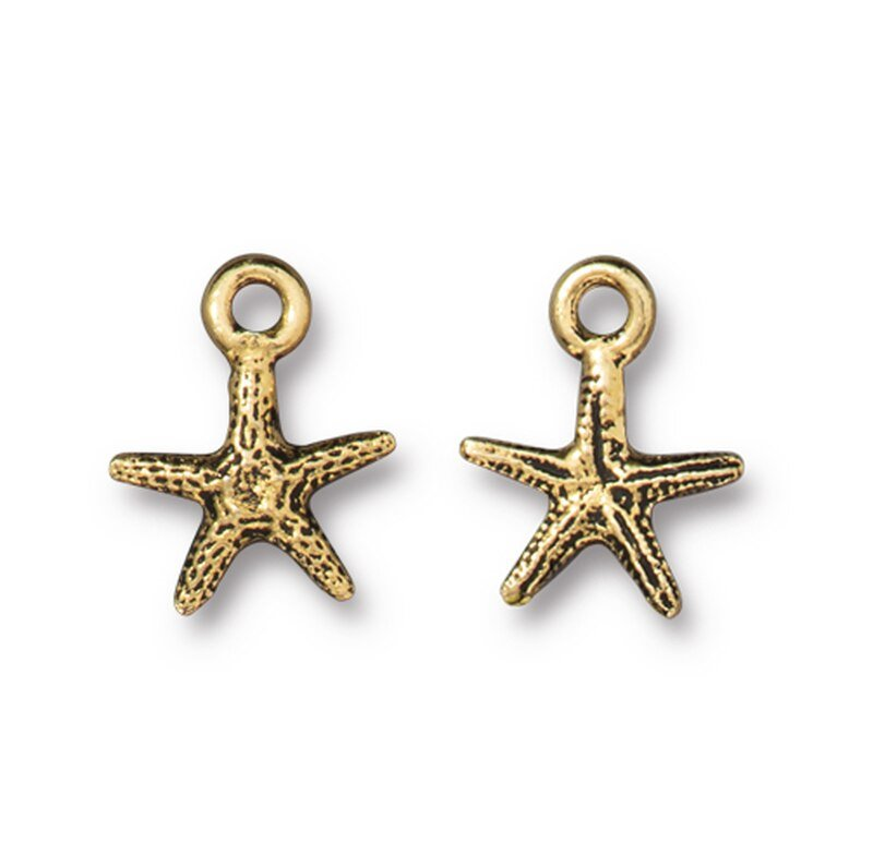 s63189 Charm - Tiny Sea Starfish - Antique Gold