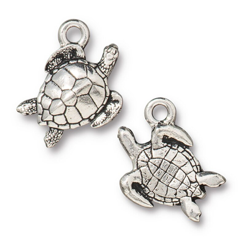 s63190 Charm -  Sea Turtle - Antiqued Silver