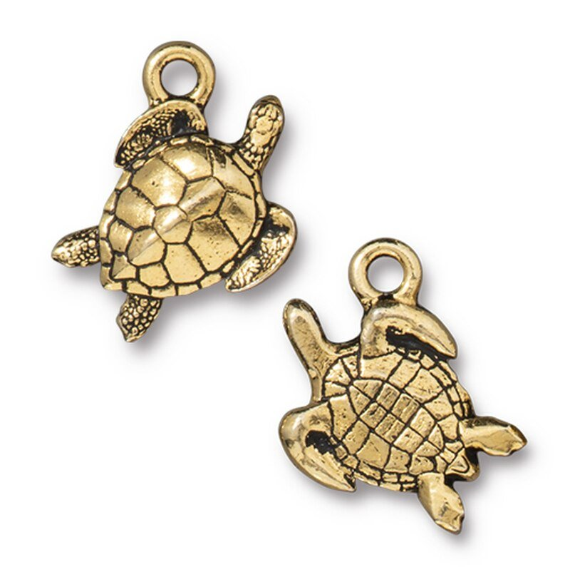 s63191 Charm -  Sea Turtle - Antique Gold