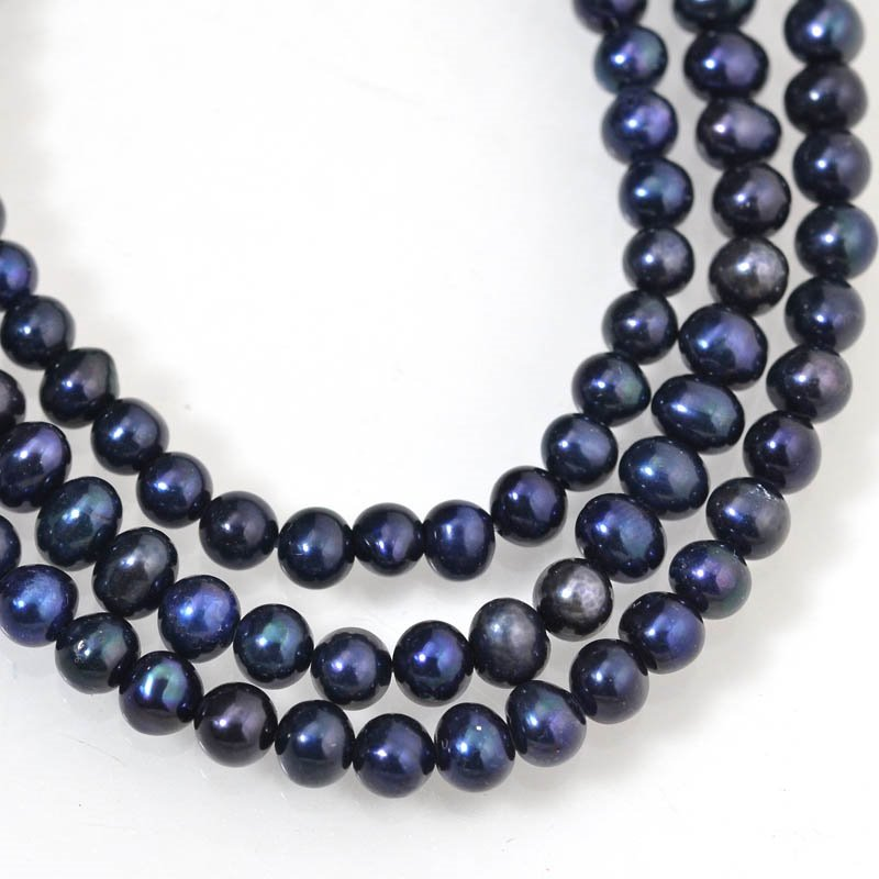 s9147 Freshwater Pearls - 5 mm Near Round Pearl - Midnight Blue (strand)