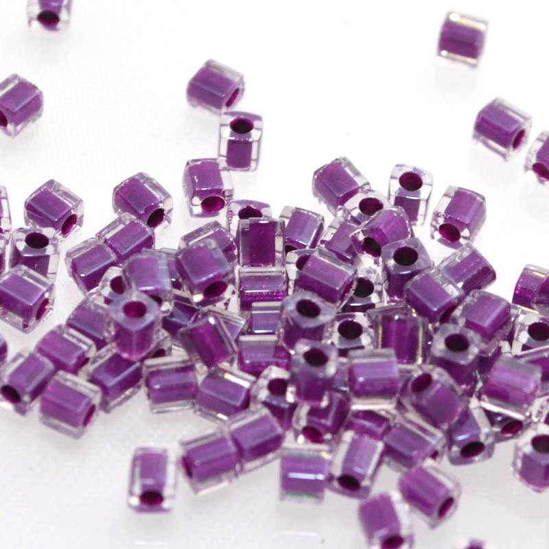 sb3-0243 Miyuki - 3 mm Japanese Cubes - Colour Lined Crystal/Dark Smokey Amethyst
