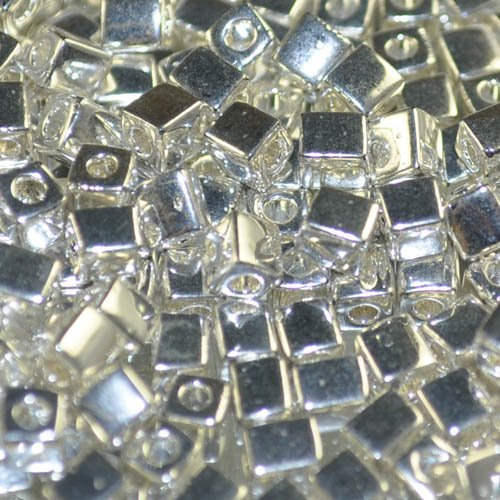 sb4-961 Miyuki - 4 mm Japanese Cubes - Bright Sterling Plated (5 grams)