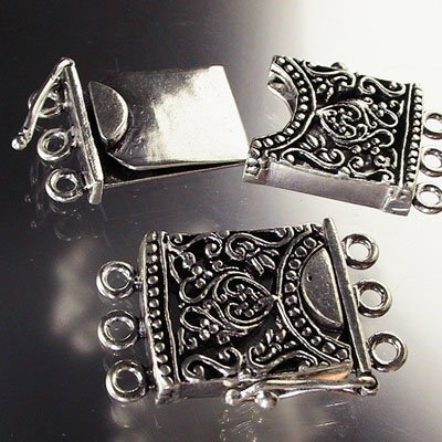 ss051 Sterling - Box Clasp - 3 Strand -  Filigree Fantasy - Sterling (1)