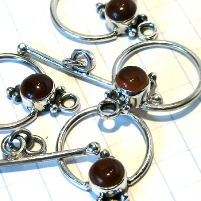 ss097-4 Sterling - Toggle Clasp w Stone -  Simple Round Cabochon - Carnelian (1)