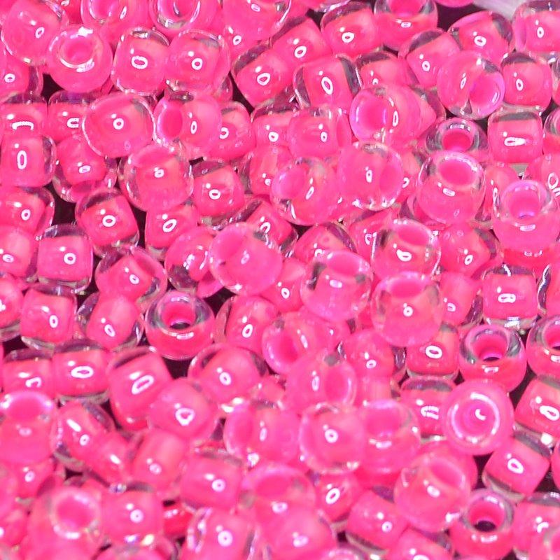 tb6r0804 Japanese Seedbeads - 6/0 Toho Seedbeads - Luminous Inside-Color Neon Pink /Crystal