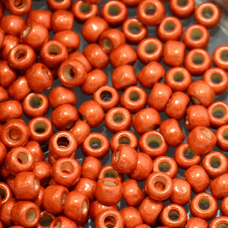 tb6rpf0562f Japanese Seedbeads - 6/0 Toho Seedbeads - Galvanized Matted Sun Burnt Orange [Permanent Finish]