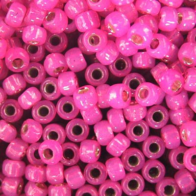 tb8rpf2107 Japanese Seedbeads - 8/0 Toho Seedbeads - Gilt Lined Hot Pink Opal [Permanent Finish]