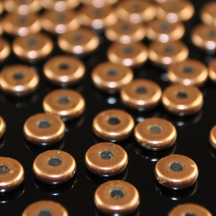 tc93-0441-18 Metal Beads - 5 mm Plain Heishi Spacer - Antiqued Copper (50)