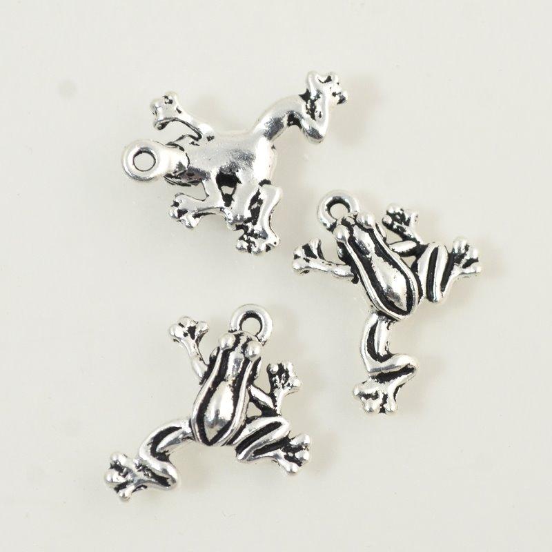 tc94-2123-12 Metal Charm/Pendant - Leap Frog - Antiqued Silver