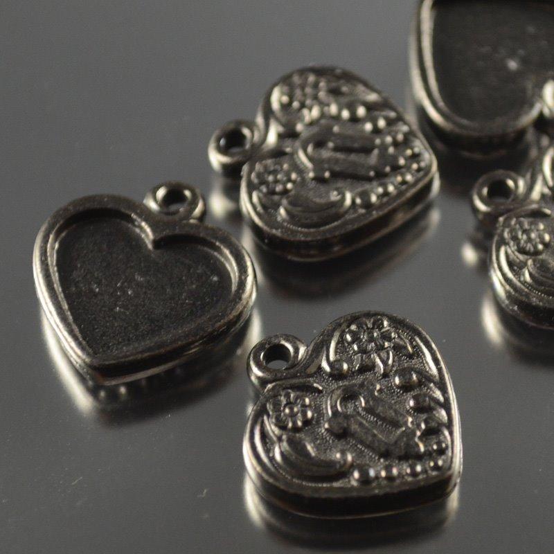 tc94-2343-13 Metal Charm/Pendant -  Heart Lock Frame - Metal Noir (1)