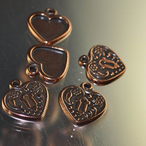 tc94-2343-18 Metal Charm/Pendant - Heart Lock Frame - Antiqued Copper